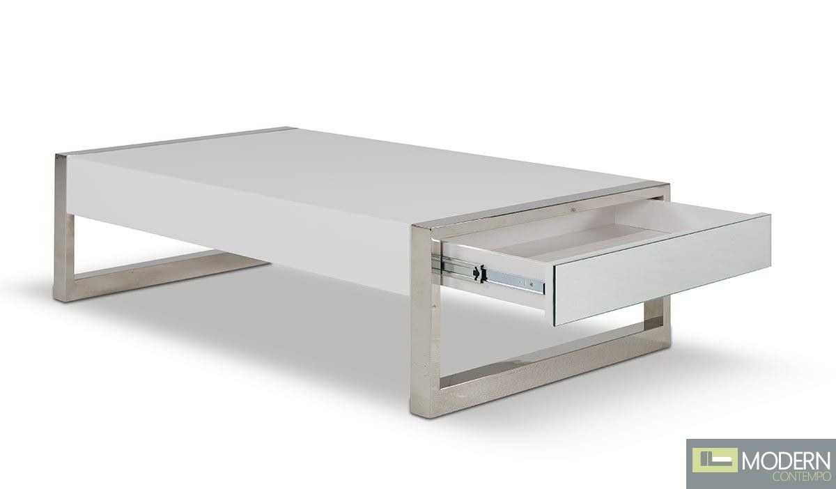 White Lacquer Coffee Table With Built In Drawer For Extra Storage