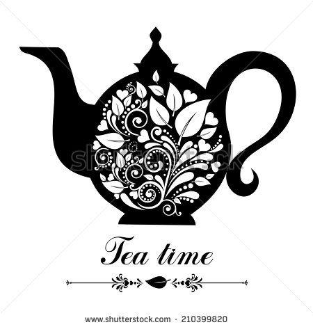 Tea time teapot with floral design elements teapot silhouette tea time teapot with floral design elements teapot silhouette isolated on white background stopboris Images
