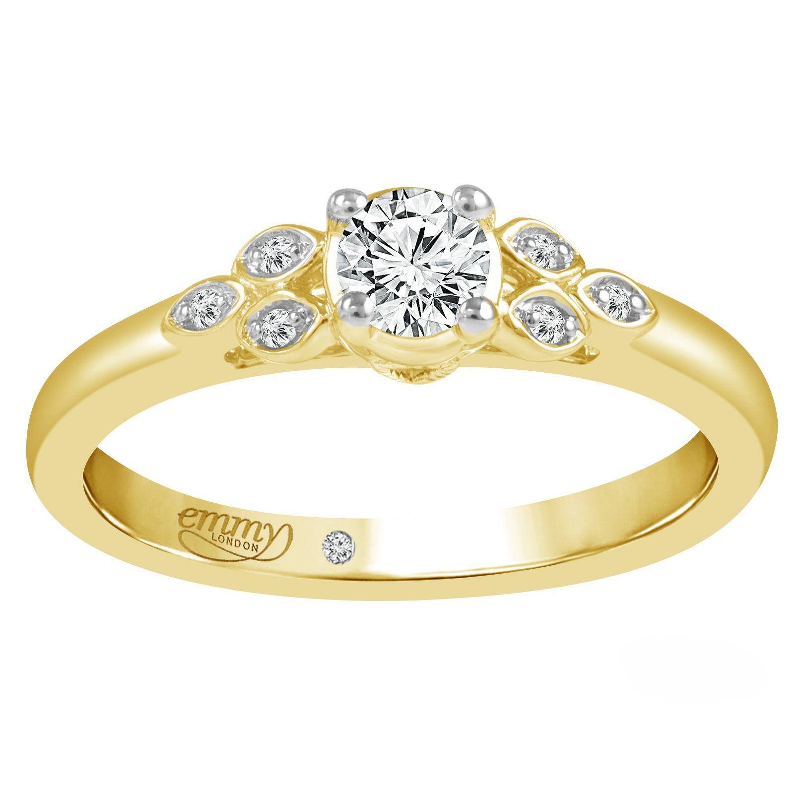 Emmy London 9ct Yellow Gold 1/5 Carat Diamond Ring 5