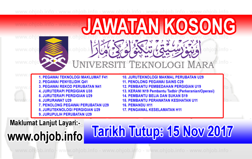 Jawatan Kosong Uitm Universiti Teknologi Mara 15 November 2017 Kerja Kosong Uitm Universiti Teknologi Mara November 2017 Permohonan Adala Sarawak Johor