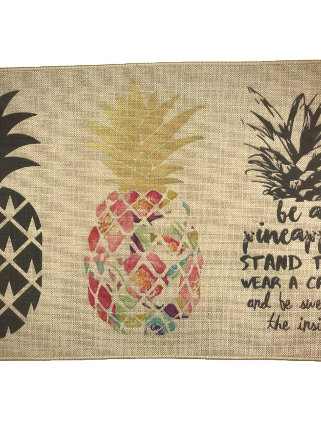 Wolala Home Natural Rubber 2 Pieces Sets Nonslip Kitchen Rug And Carpet Fruit Pineapple Comfortable Resist Fatigue Laun Area Room Rugs Door Mat Rugs And Carpet