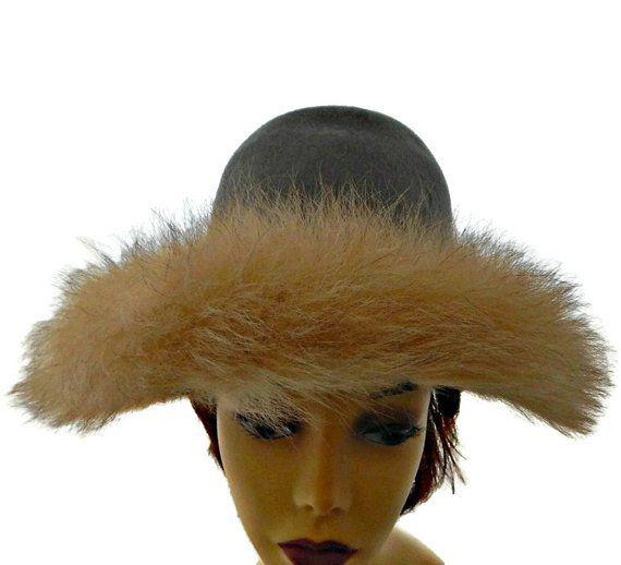 Arctic Fox Trimmed Hat Grey Wool Felt Wide Brim with Hat Box by Henry  Pollack Sears d62dd0fb7d6b