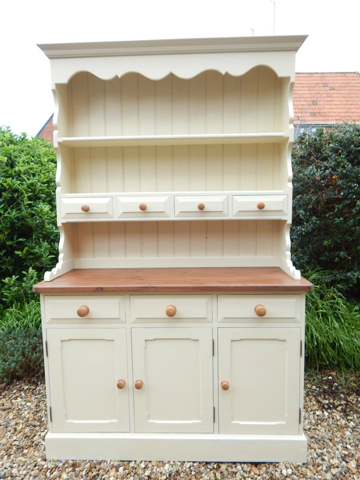 Shabby Chic Solid Pine Kitchen Welsh Dresser In Cream Can Deliver F0116 17