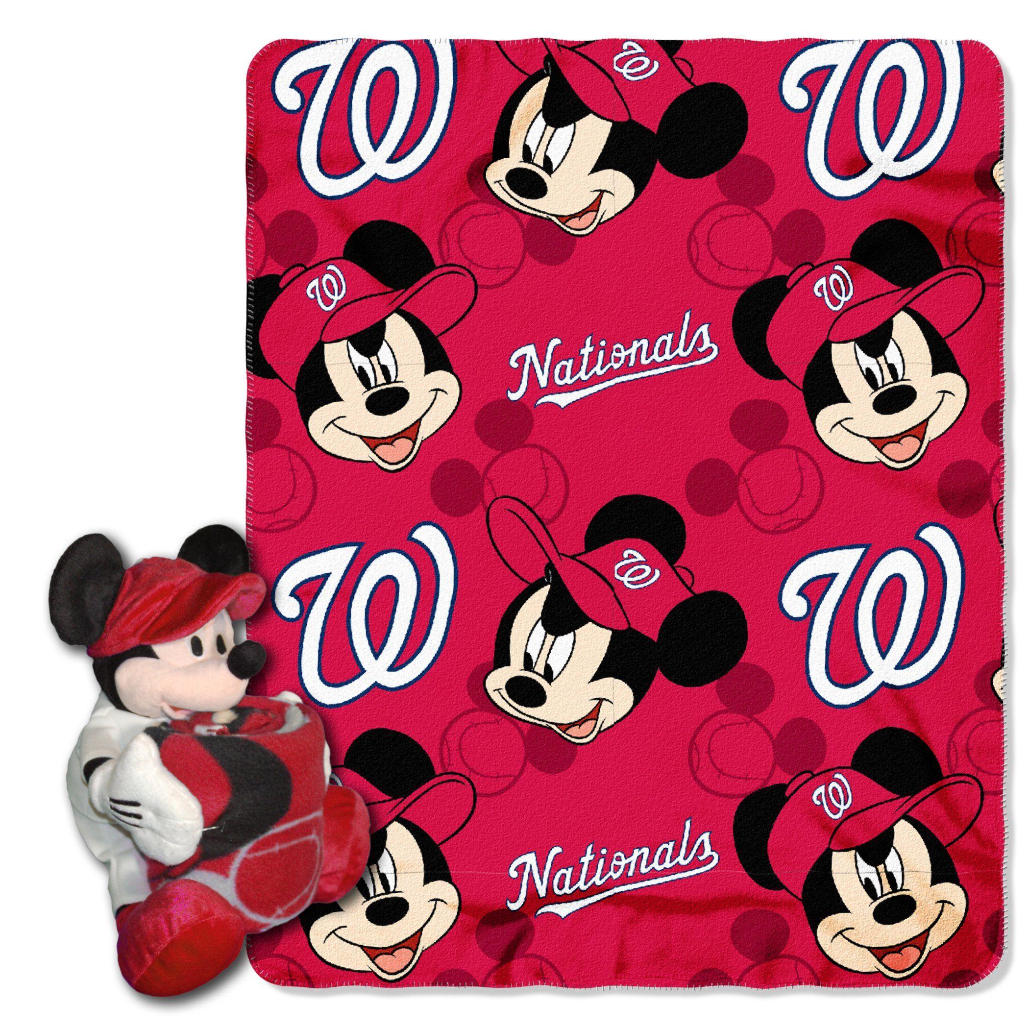 Nationals Official Major League Baseball Disney Cobranded Mickey Mouse Hugger Character Shaped Pillow And 40 X 50 Fleece Washington Nationals Mickey Disney