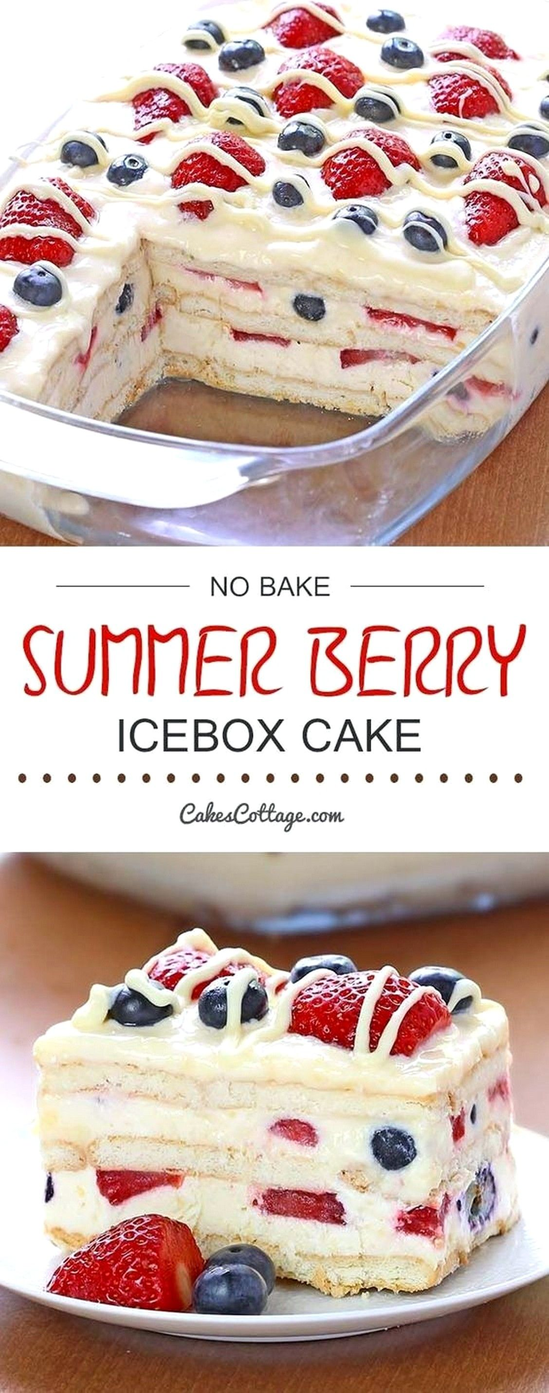No Bake Summer Berry Icebox Cake | Baking Recipes #quickcookierecipes