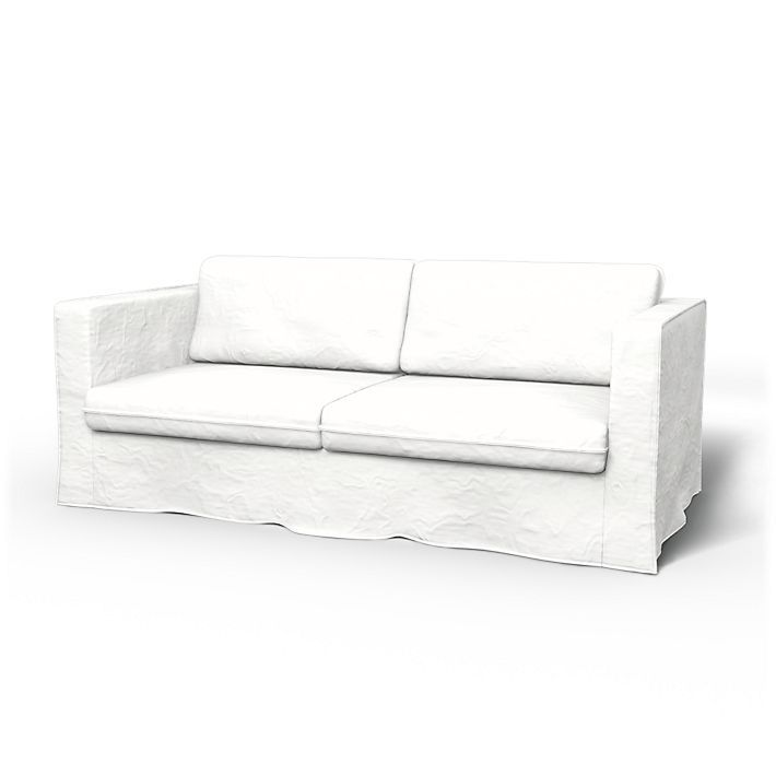 Karlstad Sofa Covers 3 Seater Loose Fit Urban Using The Fabric Rosendal Pure Washed Linen Absolute White Sofa Covers Cushions On Sofa Karlstad