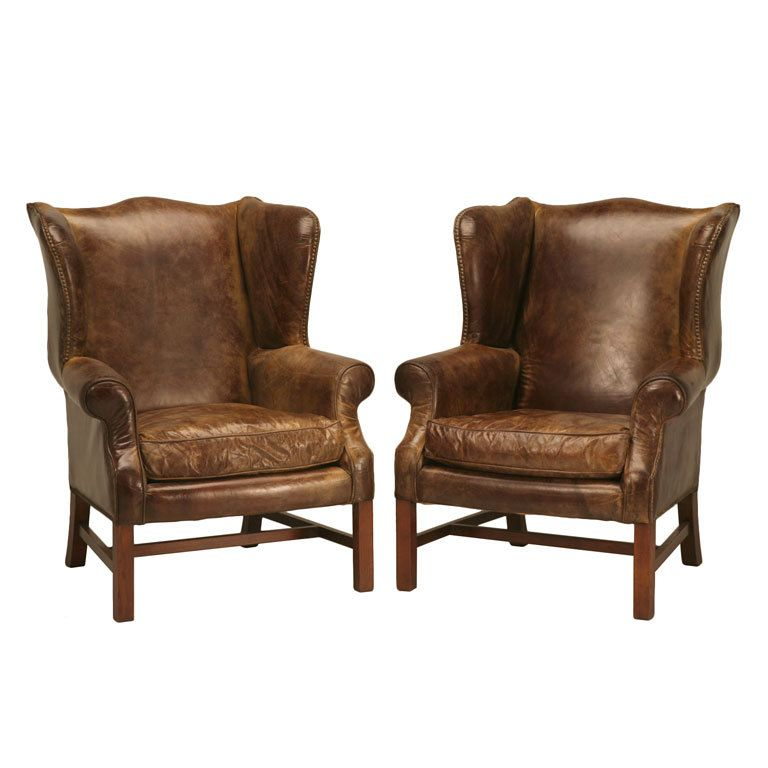 Outstanding Pair Of Vintage Distressed Leather Wing Back Chairs 1stdibs