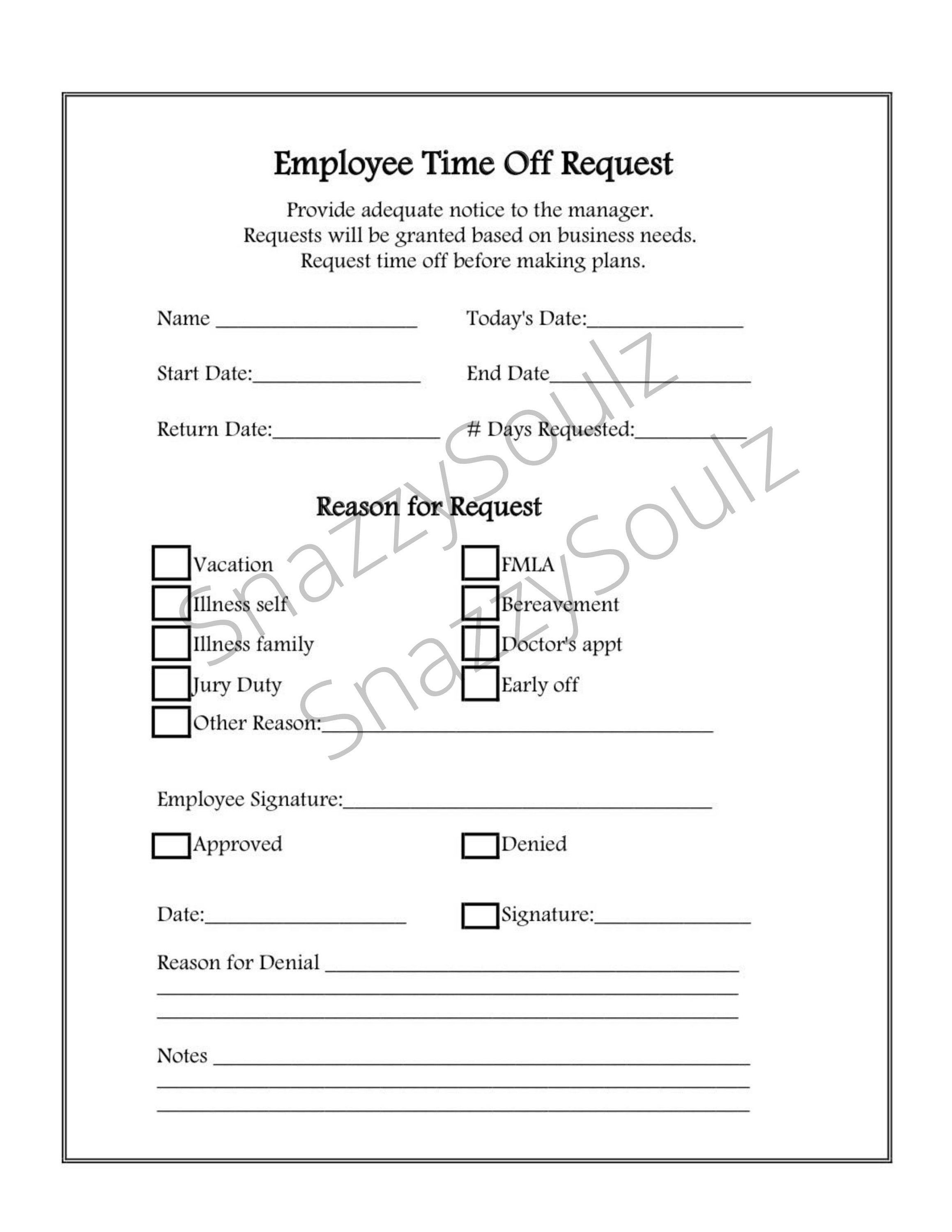 Employee Time Off Request Form Vacation Pto Downloadable And Etsy In 2021 Time Off Request Form Personal Statement Examples Restaurant Management Time off request form template