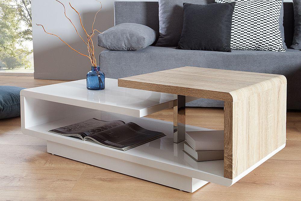 Stylischer Design Couchtisch CONCEPT 100cm Hochglanz weiß Sonoma - couchtisch aus massivholz 25 designs