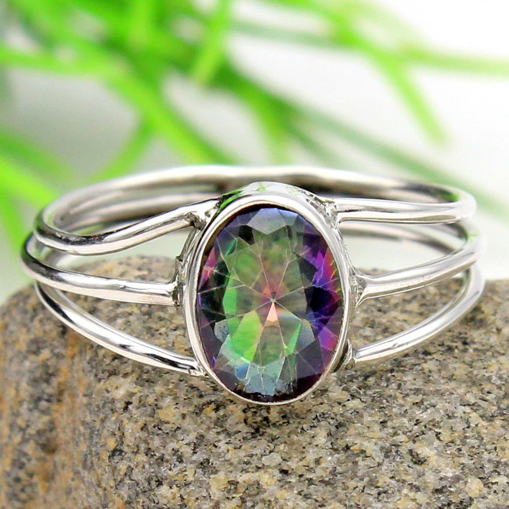 Natural Topaz Gemstone Ring Solid Sterling Silver 925 Size 8 US.