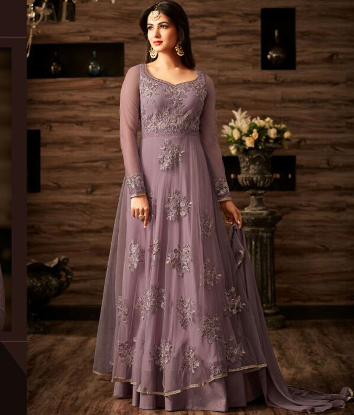 95a90c39f7 Sonal Chauhan Designer Light Purple Color Georgette Anarkali Salwar Suit
