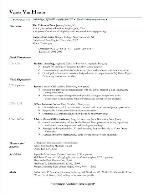 Fine Dining Server Resume -    topresumeinfo fine-dining - server resume