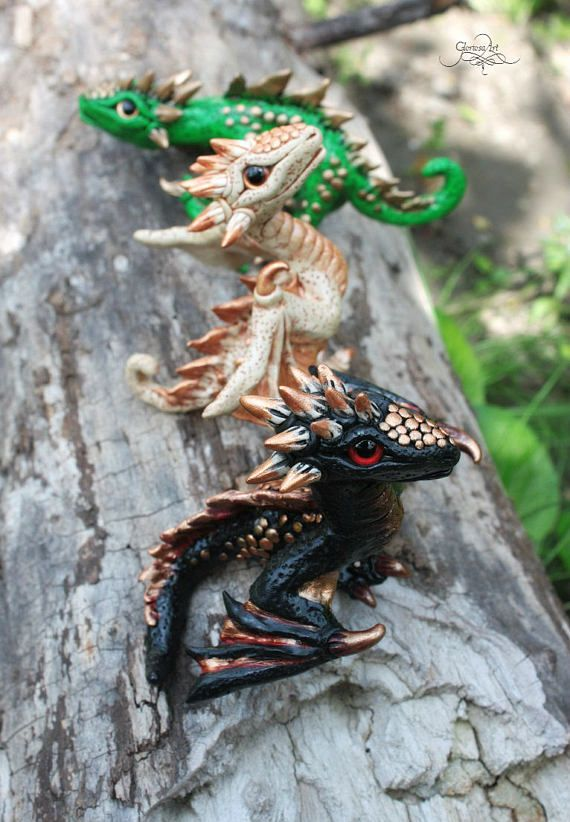 Game of Thrones inspired dragons set - Drogon Rhaegal Viserion - baby dragon figurine - dragon sculpture - fantasy - targaryen dragons - polymer clay - fimo art - daenerys dragons by - GloriosaArt