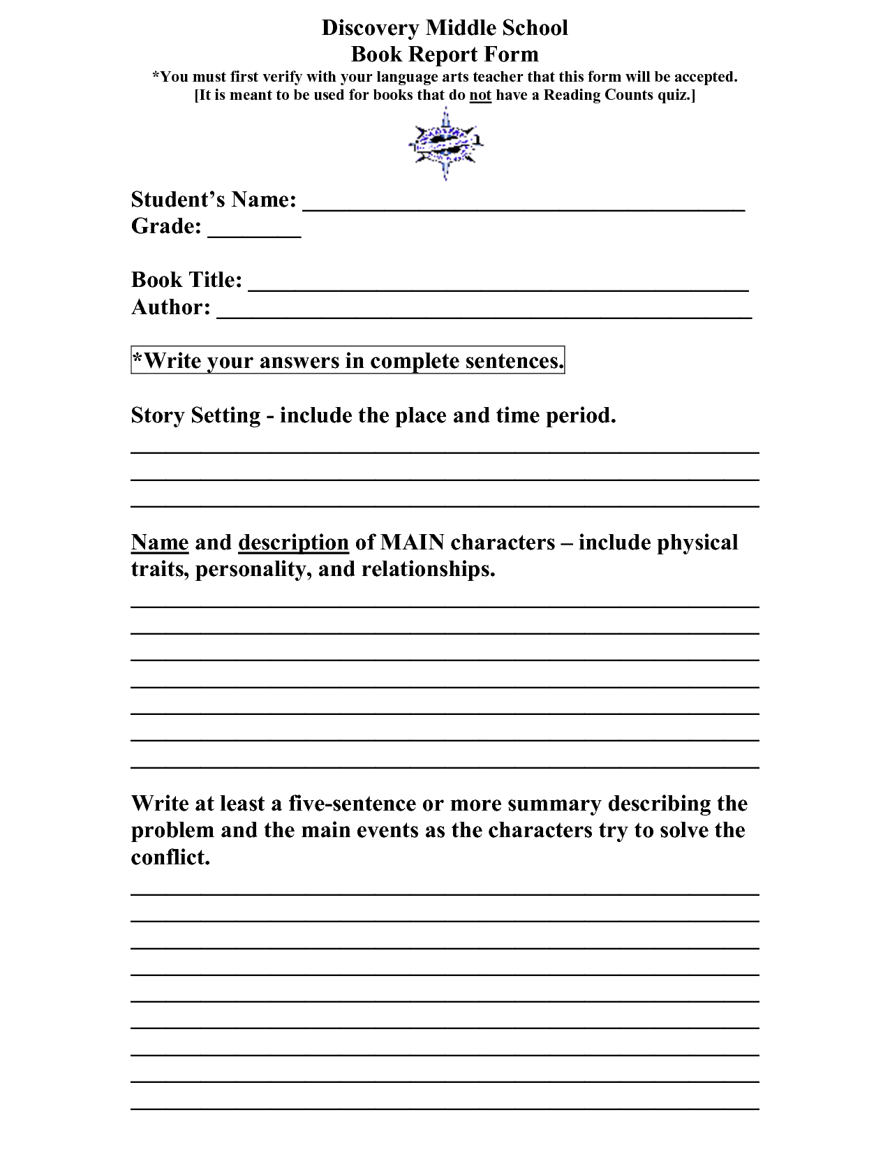 Book Report Template Elementary School Scope Of Work