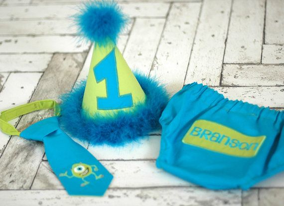 Monsters Inc Little Boy Birthday Hat And Tie Adorable