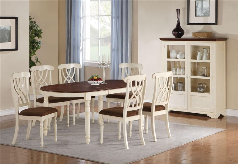 Cameron 7 Pc Cottage Oval Leg Table Set In Buttermilk Dark Cherry Finish By Coaster 103181 Oval Table Dining French Country Dining Room Country Dining Rooms
