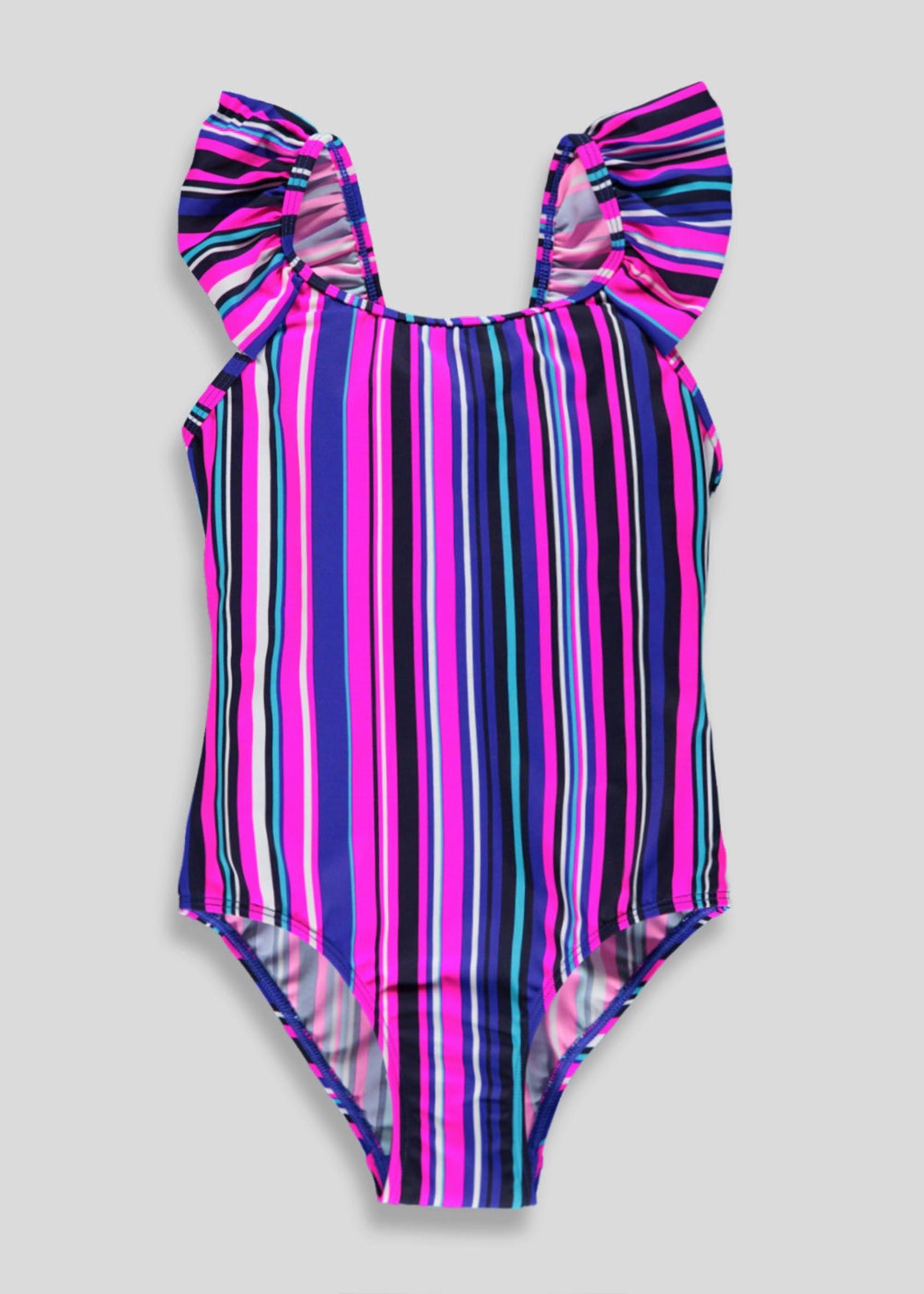 Girls stripe swimming costume 413yrs multi swimming