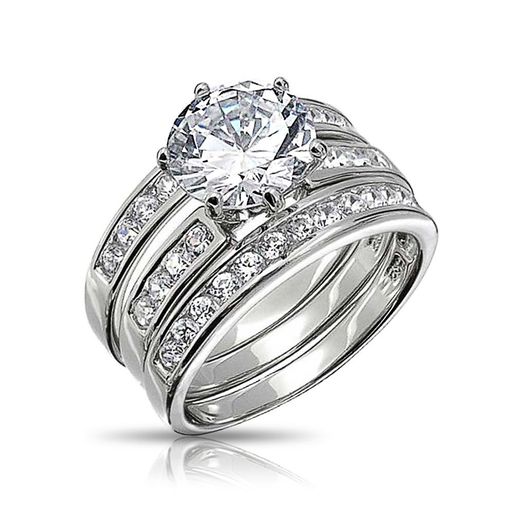 Round Cut Cz 3 Piece Bridal Engagement Ring Set Sterling Silver Bling Jewelry