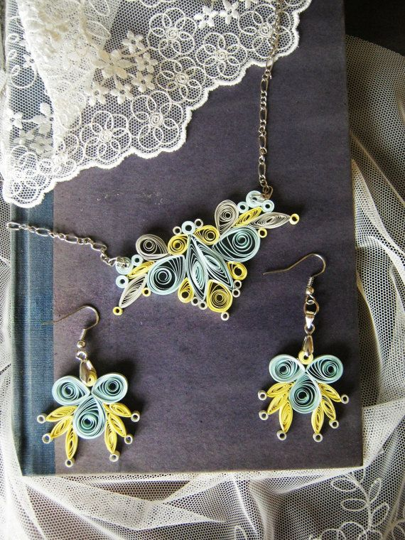 First Anniversary Jewelry Gift For Women 1 Year Yellow And Light Blue Necklace Chandelier Earrings Quilling Gifts