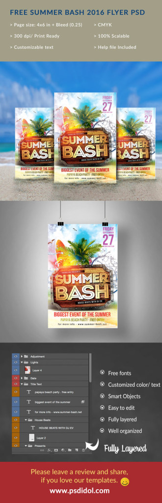 free creative summer party flyer for summer beach party event it s