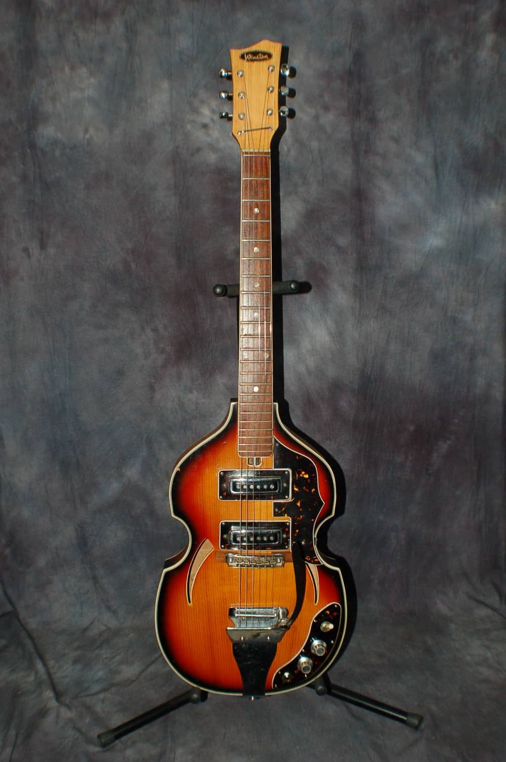 a really cool 1960 s winston by teisco vox violin style guitar with whammy tailpiece this guitar is awesome all original and it plays and sounds great  [ 1000 x 1504 Pixel ]