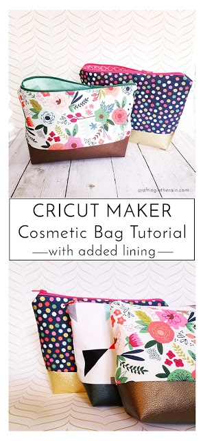 Cricut Cosmetic Bag Tutorial - Beginner sewing projects easy, Cosmetic bag tutorial, Sewing projects for beginners, Sewing projects, Bags tutorial, Sewing tutorials - I love the Cricut cosmetic bag project, and I have found out how to tweak it a little so that it has a lining too  Read the tutorial here