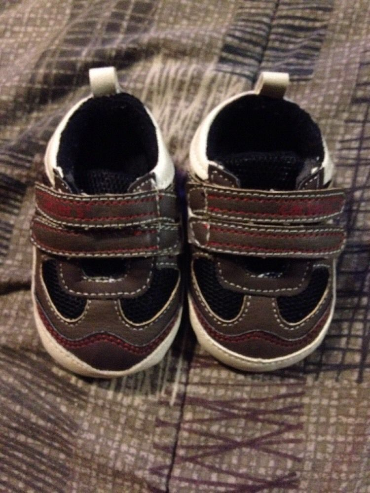 7a1e64802d1be ... Carters Baby Soft Crib Shoes Size 3 Sneakers Brown and Orange Velcro  eBay popular stores 4e59c  Children ...
