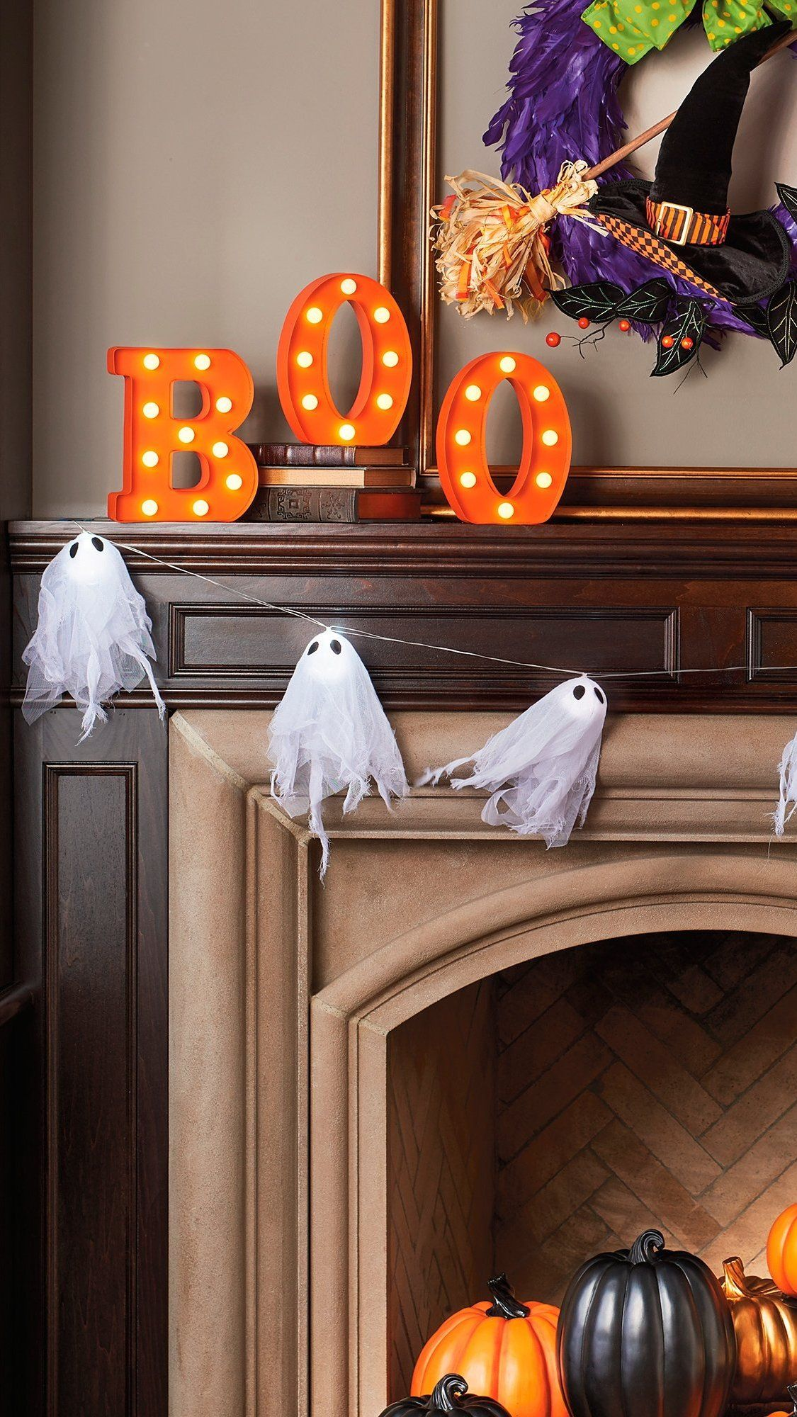 Boo It Up In Lights Arrange Our Charmingly Chic Battery Operated Boo Marquee Letters In Any Room You Halloween Crafts Halloween Decorations Holidays Halloween