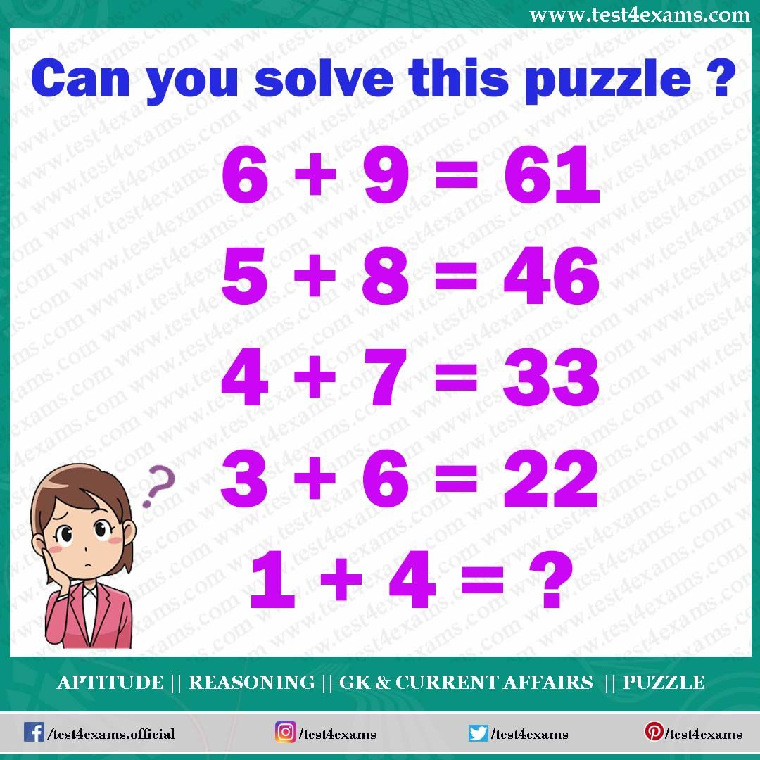 Can You Solve This Puzzle 6 9 61 5 8 46 4 7 33 3 6 22 1 4 Free Online Practice Of Puzzles And Riddles Problems W Logic Math Maths Puzzles Brain Teasers