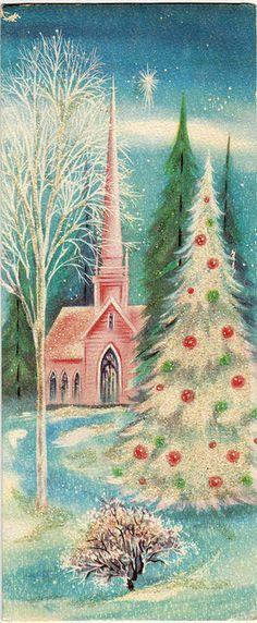 vintage christmas card pink tree google search amanda. Black Bedroom Furniture Sets. Home Design Ideas