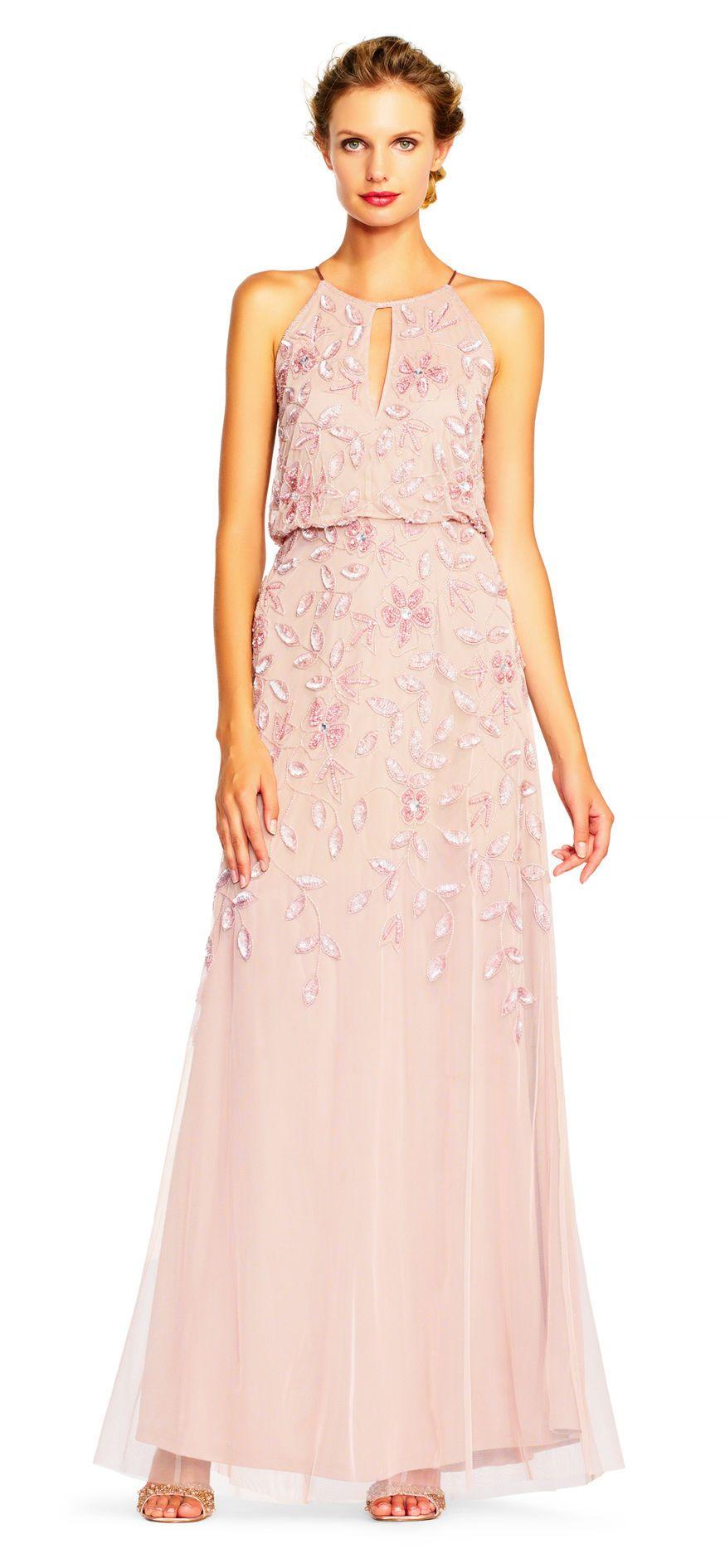 Floral Beaded Blouson Halter Gown | Pinterest