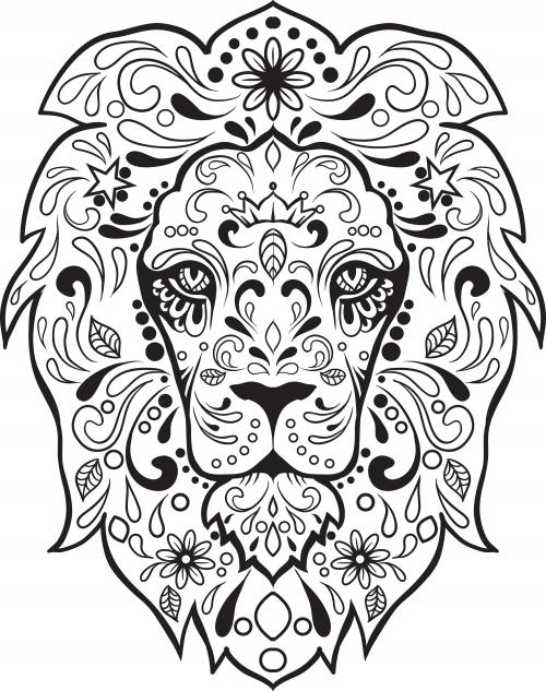 sugar skull advanced coloring 8 - Simple Sugar Skull Coloring Pages