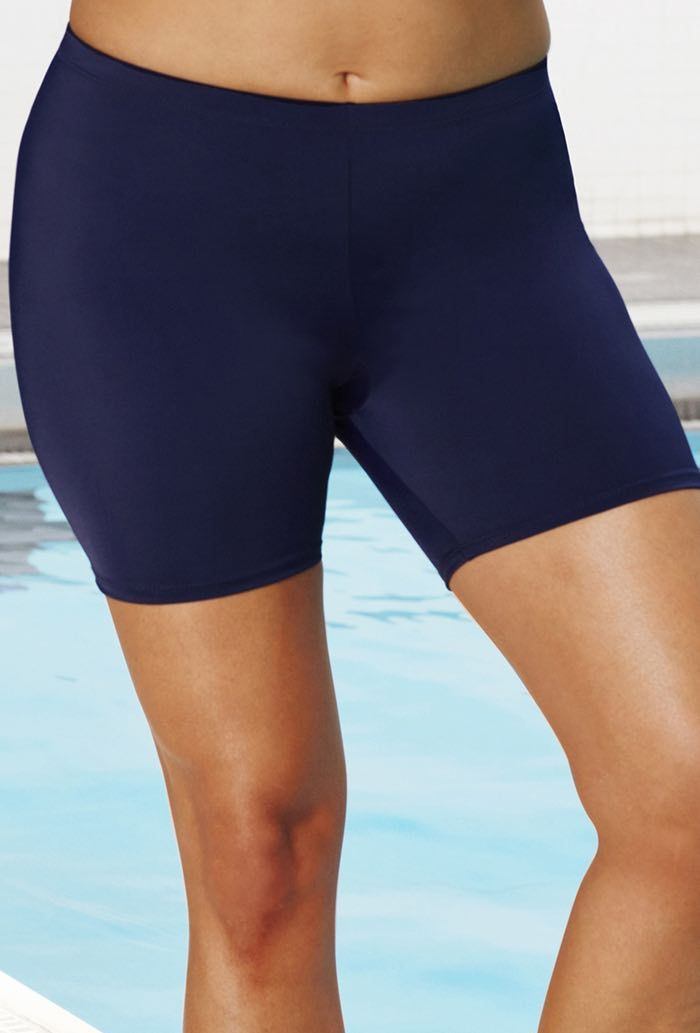 2b6e7a3ccce537 Swimsuits For All Chlorine Resistant Lycra Xtra Life Navy Bike Plus Size  Short, Size 22, Blue