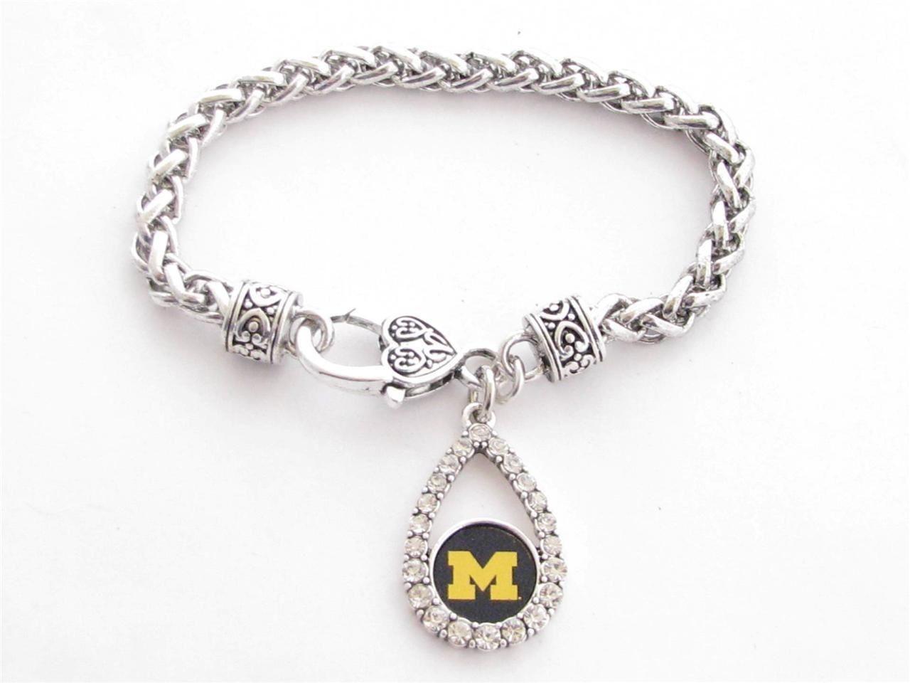 Michigan Wolverines NCAA Teardrop Clear Crystal Silver Bracelet