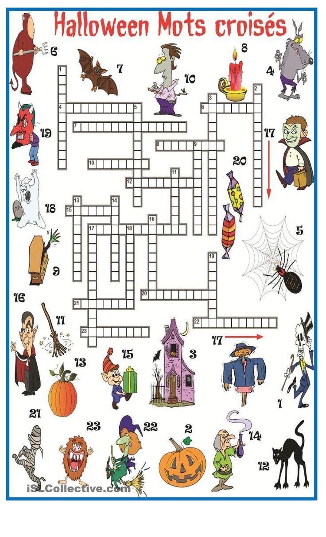 Halloween mots crois s fle halloween pinterest for Cuisinier francais 6 lettres