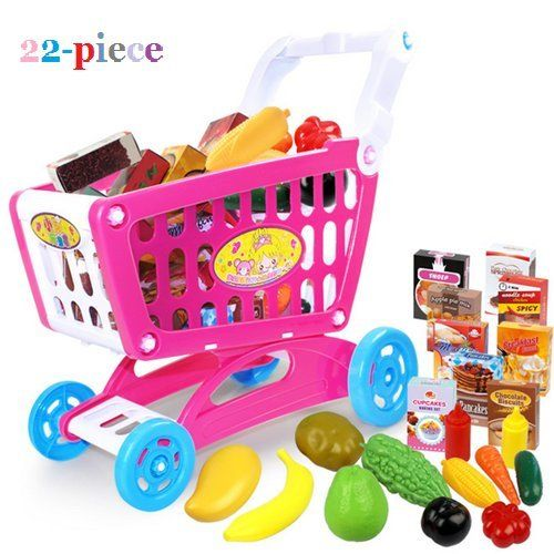 AUCH Mini Shopping Cart with Full Grocery Food Vegetable and Fruits Toy Playset for Kids Children, Hot Pink (22Pcs) *** Want to know more, click on the image.