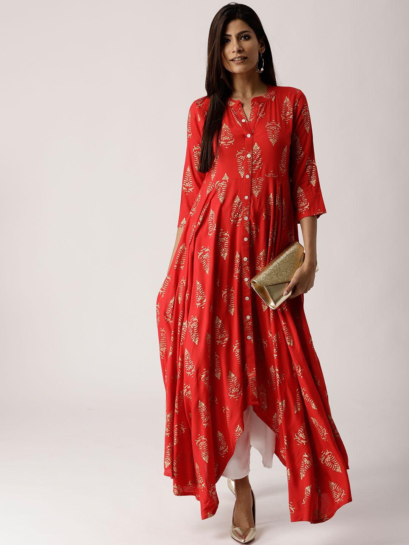 6cb01dac5 Buy Libas Women Red & Golden Block Print A Line Kurta - Kurtas for Women  7099029   Myntra