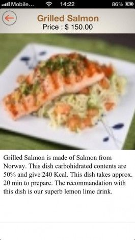 Digi Waiter App For Iphone Lime Drinks Grilled Salmon Dishes