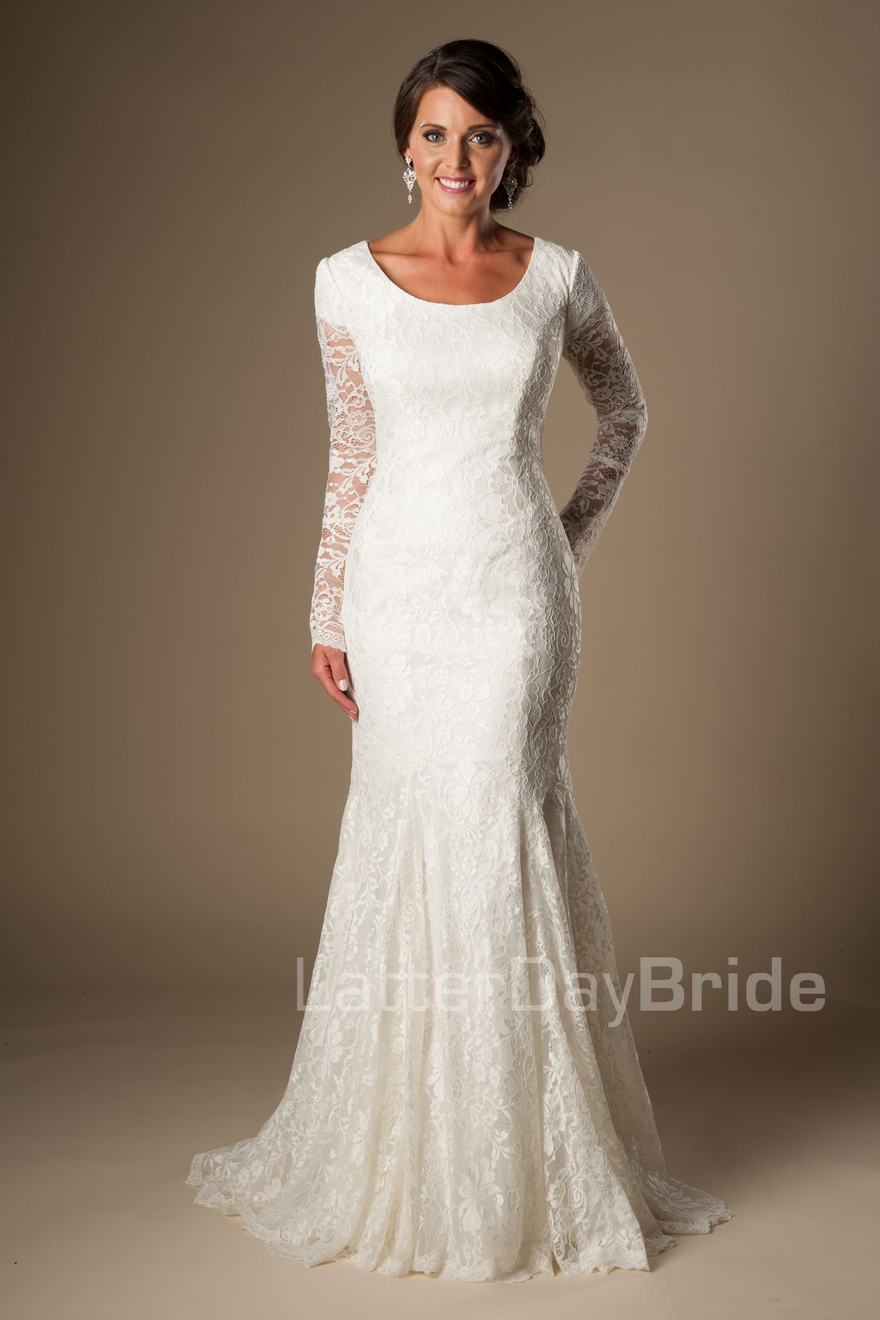 Complete Your Wedding With This Amazing Long Sleeved Modest Gown Illusion Lace Sleeves A Mermaid Fit And Stunning Sweep Train