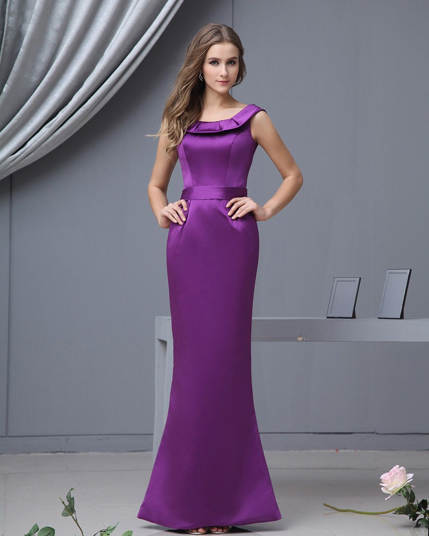 Scoop Mermaid Floor Length Satin Purple Bridesmaid Dresses | Wedding ...