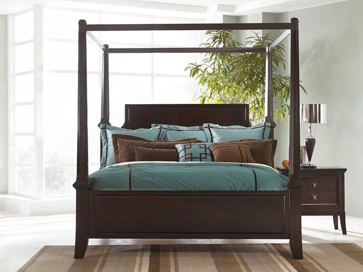 Masculine Bedroom In Brown And Teal 4 Poster Bed Imagine The Possibilities Queen Canopy