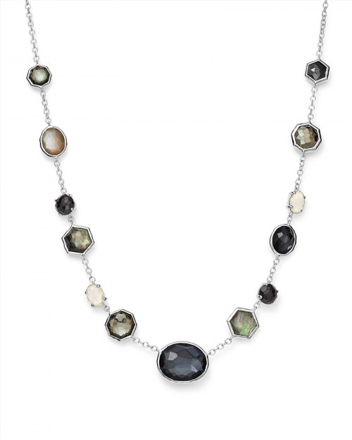 """1,196.00$  Watch now - http://visyu.justgood.pw/vig/item.php?t=48j6b515461 - Sterling Silver Rock Candy® Mixed Stone Necklace in Black Tie, 16"""""""