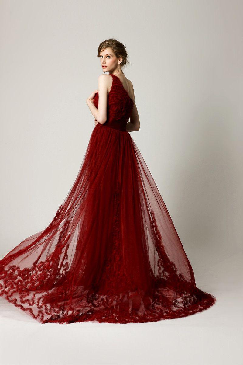 Elie Saab A-Line Burgundy Prom Dress One shoulder Red Wine Luxury ...