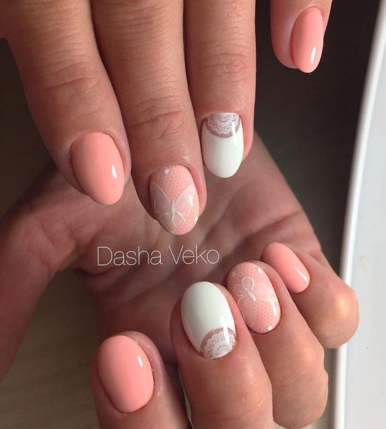 Nail Art 2025 Simple Nail Design Peach Nails Nails Two Color