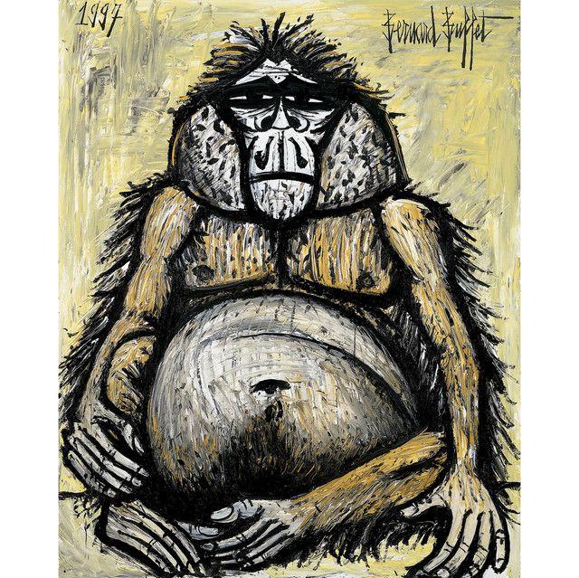 Bernard buffet mes singes orang outan femelle 1997 for Buffet peintre