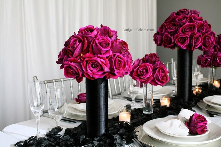 Hot Pink And Black Theme Wedding Decor Pink Wedding Bouquets