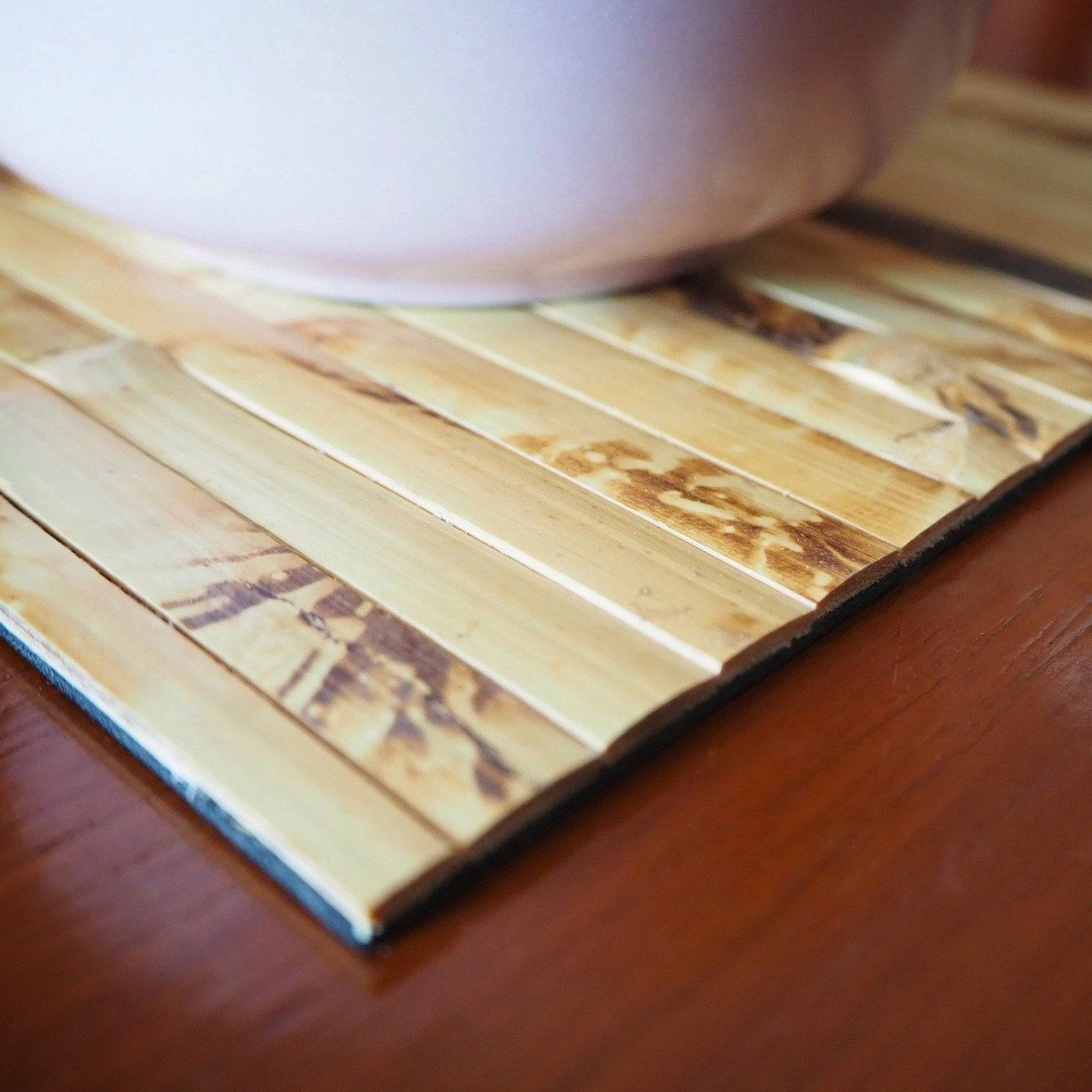 Handmade Natural Bamboo Placemats Set Of 2 Eco Friendly And Heat Resistant Table Mats 20x20cm Our Placemats Do Not Go Bamboo Placemats Bamboo Crafts Bamboo