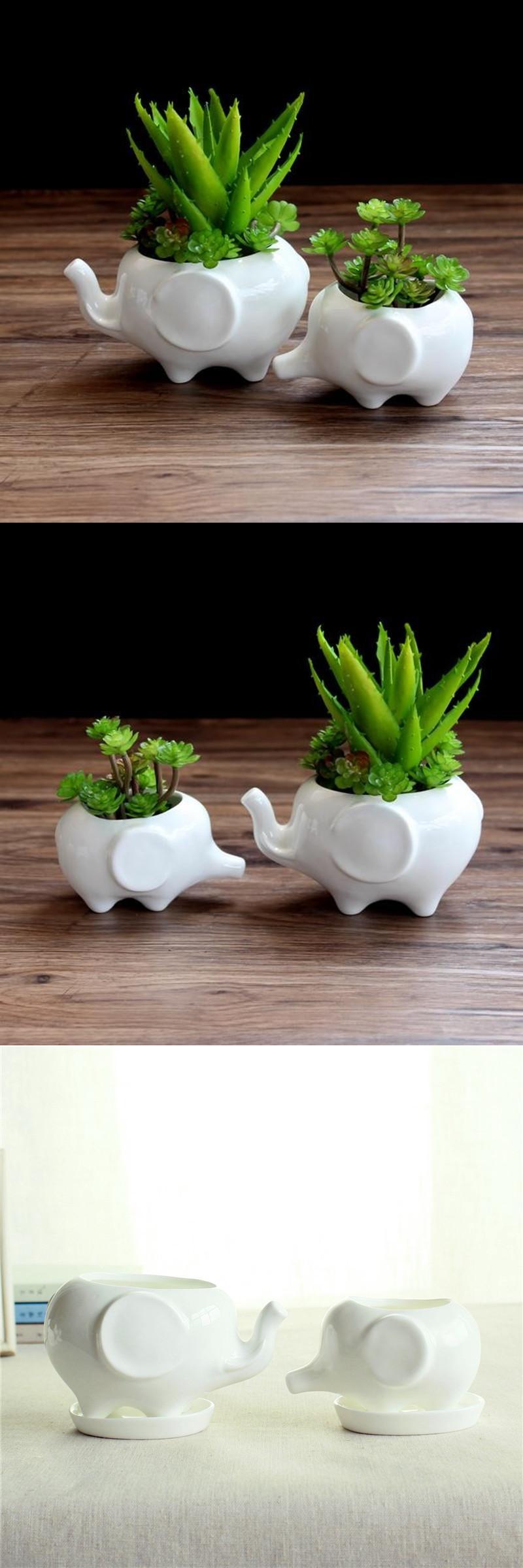 [Visit to Buy] Flower pot planters White elephant ceramic pote de vidro for  sale garden pots flower vasi macetas pot fleur bonsai pots