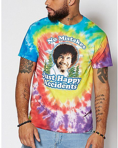 298b27f6c06c7 Happy Accidents Tie Dye Bob Ross T Shirt - Spencer s