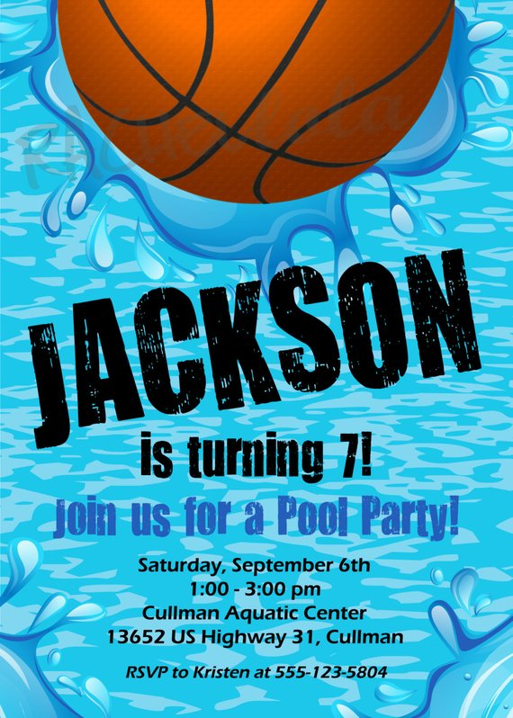 Basketball Pool Party Birthday Invitation Printable Template Swim